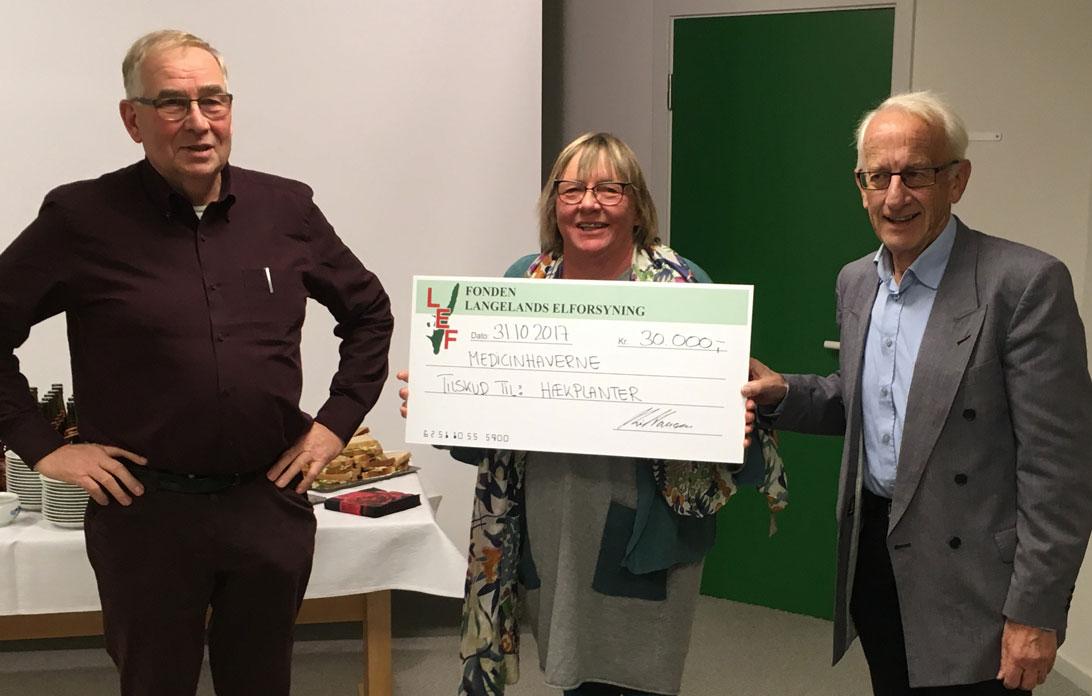 Formanden for LEF, Jens Oldenbjerg, overrække 30.000 kr. til Medicinhavernes formand Helle Ravn og kasserer Ole Jacobsen.